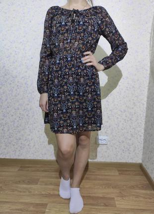 Нарядное повседневное платье шифоновое с длинным рукавом