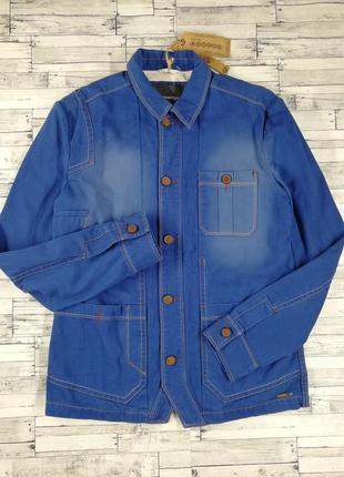 Джинсовая куртка-пиджак bonobo ярко-синего цвета мужская
