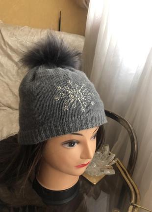 Тёплая шерстяная шапка с помпоном, натуральная шерсть , мех, и...