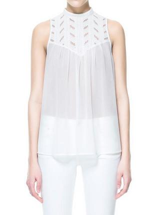 Zara блуза с кружевным верхом