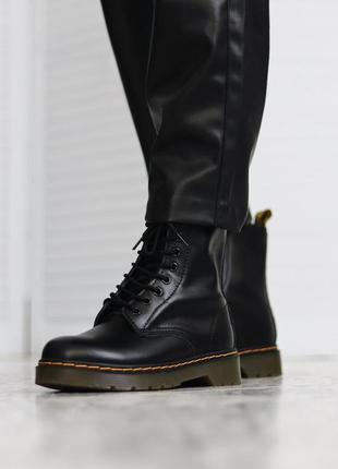 Женские кожаные осенние ботинки dr.martens 1460 black черного ...