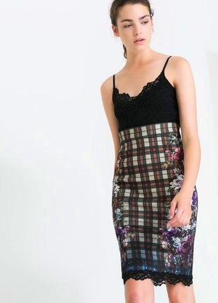 Zara принтованное платье с кружевом