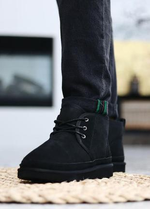 Ugg neumel black мужские замшевые зимние угги/ сапоги/ ботинки...