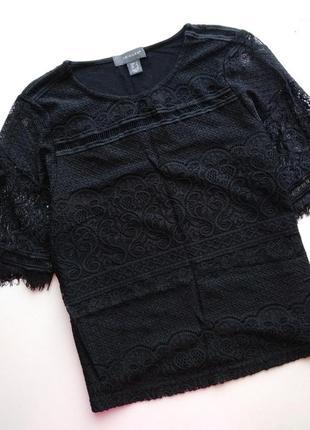 Чёрная футболка с кружевом primark