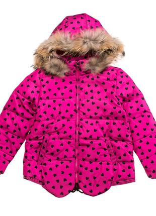 Зимняя куртка для девочки. Теплая розовая куртка. Размер 104