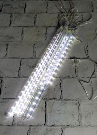 LED гирлянда Сосульки палочки, холодный свет, белая, 3 метра (пит