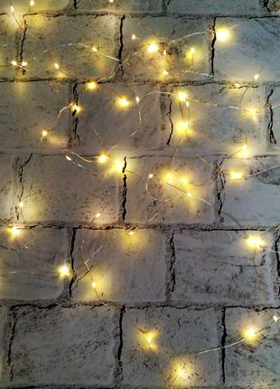 LED гирлянда, теплый свет, желтая, 10 метров