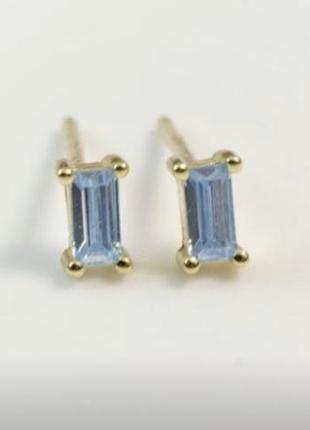 Серебряные серьги с голубым камнем, гвоздики из серебра 925 пробы