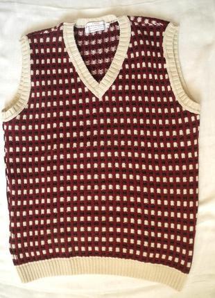 Мужской винтажный жилет London Knitwear Gallery (Aнглия) р.52 L