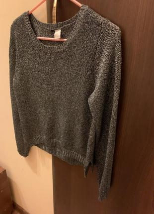 Трендовый металлизированный свитер h&m с разрезами по бокам