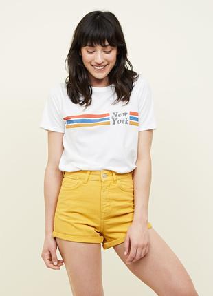 Жёлтые шорты модели mom new look 12размер