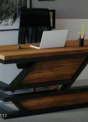 Стол шефа, стіл офісний, натуральне дерево, метал.
