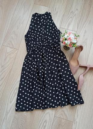 Черное платье в горох с пышной юбкой, сарафан, р.м
