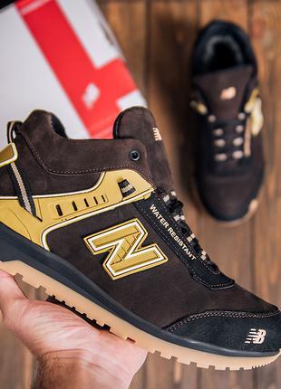 Зимние Кожаные спортивные ботинки на Натуральном меху New Balance