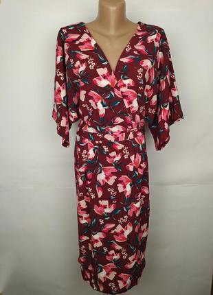 Платье цветочное красивое под пояс uk 16/44/xl