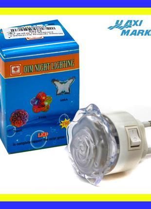 Светильник - ночник светодиодный Роза цветные диоды LED в розетку