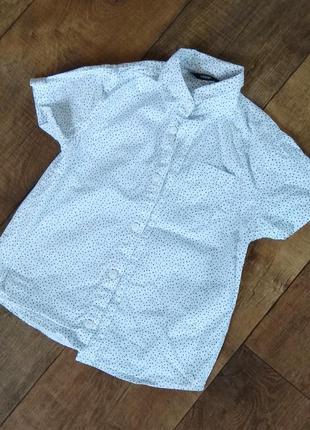 Рубашка белая школьная нарядная выпускная 6-7-8л 116-122см