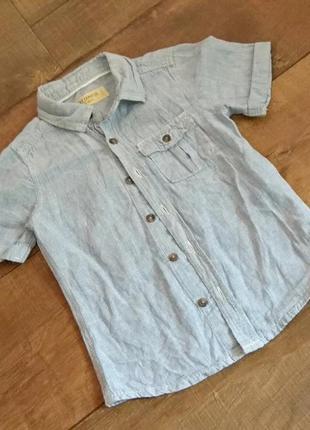 Рубашка поло тенниска полосатая next 2-3г 92-98см