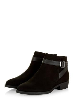 Чёрные замшевые ботинки new look стелька 23 см