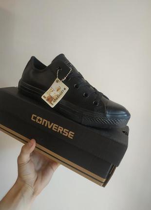 Распродажа! полностью черные кеды конверсы кожаные converse