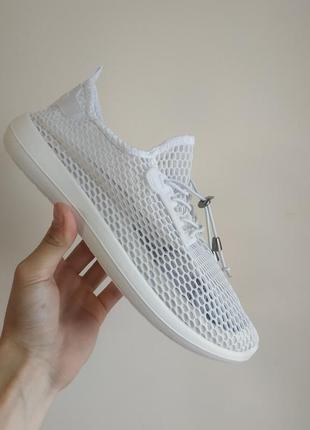 Сетка кроссовки на пене белые слипоны кеды текстиль