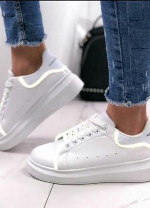 Криперы кроссовки эко кожа белые с рефлекторами на платформе a...