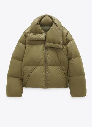 Тёплая оливковая куртка пуховик zara