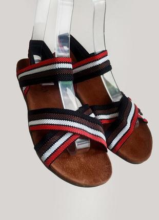 Босоножки сандалии шлепки коричневые на резинке на плоской под...