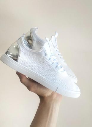Белые кеды кроссовки серебряный задник текстиль сетка