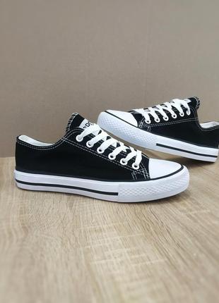 Кеды классические низкие черно белые на шнурках