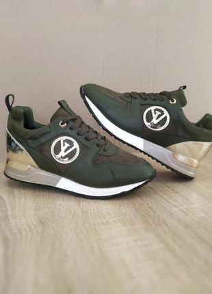 Зеленые кроссовки эко кожа замша run away