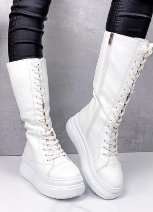 Женские белые зимние сапоги на платформе,женские белые зимние ...