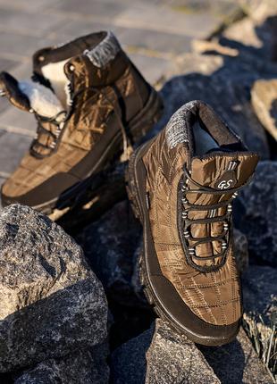 Ботинки (дутики) мужские на шнурках, хаки, утепленные, осень-зима