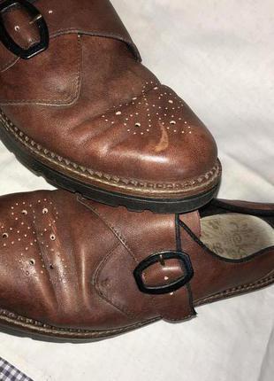 Кожаные оксфорды ботинки rieker мягкие бордовые
