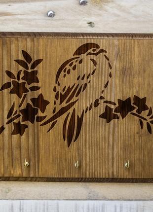 "Настенная ключница ""Птичка"" 32 из дерева"