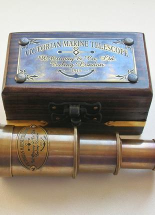 Карманная подзорная труба в деревянном футляре. Новая