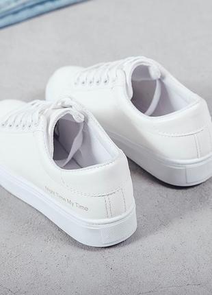 Кеды белые с силиконовыми шнурками, кроссовки
