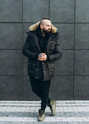 Зимняя куртка термо пуховик парка asos аляска черная длинная