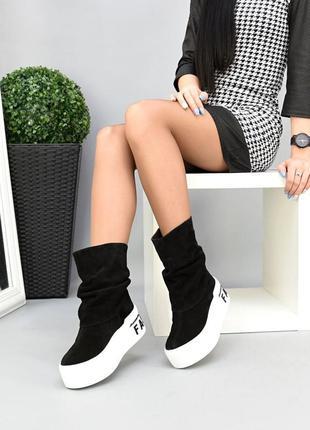 Замшевые сапоги на толстой подошве чоботи натуральная замша