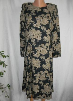 Натуральное осеннее платье с принтом