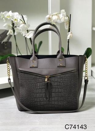 Большая женская сумка формат а4 замш рептилия