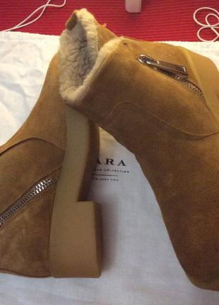 Зимние ботинки ZARA  натуральная замша и на толстой подошве