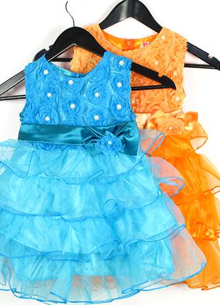 Детское нарядное голубое платье.