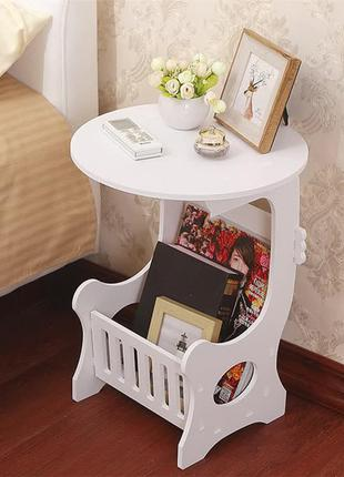 Прикроватный круглый столик с полкой для мелочей