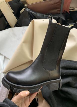 Ботинки женские в стиле боттега натуральная кожа зима деми