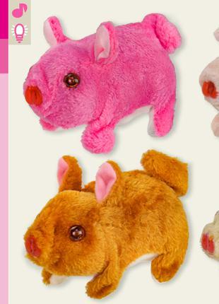 Мягкая игрушка M0662 (126шт/2) свинка, 4 цвета, хрюкает, ходит, 1
