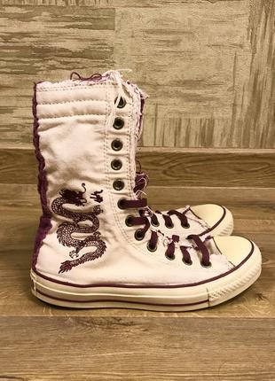 Светлые белые с фиолетовым высокие кеды конверсы Converse