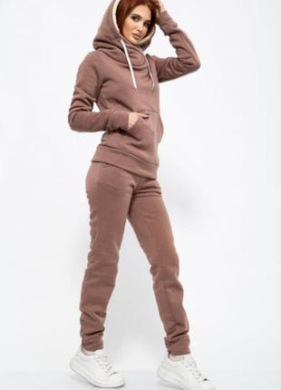Зимний спортивный костюм с мехом на флисе теплый худи штаны