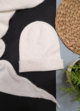 Шапка бактус шарф вязаный пух норки норка вязаный набор шапка ...