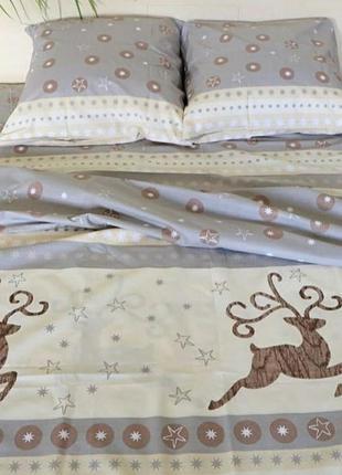 """Двухспальное евро постельное белье из бязи голд """"новогодние пр..."""